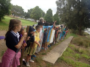 students from local primary schools on field trips to Glebe foreshore to learn